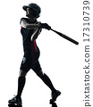 woman playing softball players silhouette isolated 17310739