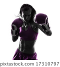 woman boxer boxing kickboxing silhouette isolated 17310797