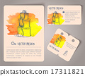 Hand drawn watercolor cards 17311821