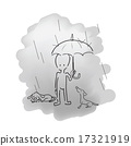 Man standing in rain with umbrella and dogs 17321919