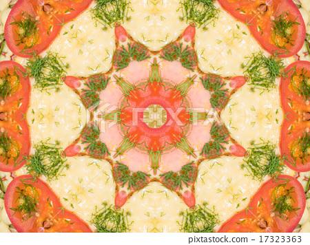 orange color drawing in kaleidoscope pattern  17323363