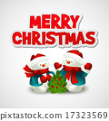 Christmas vector illustration with snowman 17323569