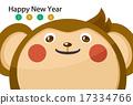 원숭이, 연하장, 새해 17334766