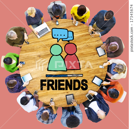 Stock Photo: Friends Group People Social Media Loyalty Concept
