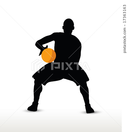 basketball player silhouette in hold pose 17363163