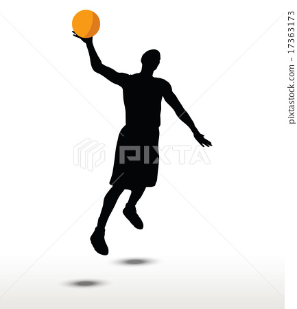 basketball player slhouette in slam pose 17363173