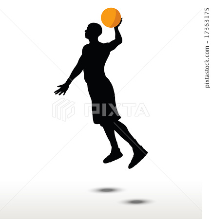 basketball player slhouette in slam pose 17363175