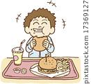 男孩 矢量 連續吃大量食物 17369127