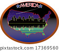 แผนที่อเมริกาและตึกระฟ้า 17369560