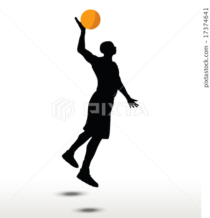 basketball player slhouette in slam pose 17374641