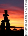 Sunset and Inukshuk of English Bay 17376608