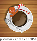 gingerbread in cup of hot chocolate and sugar cane 17377056