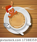gingerbread with santa claus hat in cup of coffee 17388359