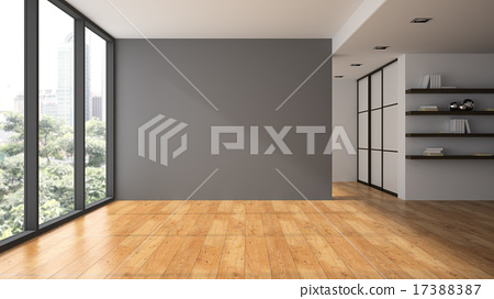 Stock Illustration: Empty room with book shelfs 3D rendering