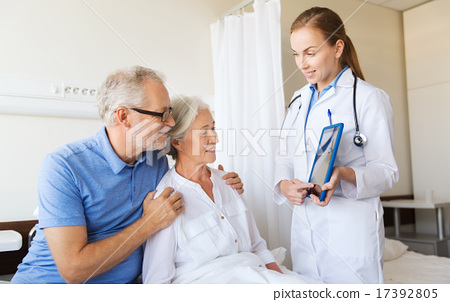 Stock Photo: senior woman and doctor with tablet pc at hospital