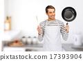 圍裙 勺子 平底鍋 17393904