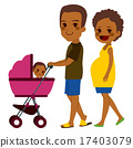 African American Couple Pushing Stroller 17403079