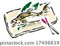 brush writing, ayu, grilled fish 17406639
