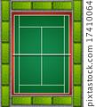 Tennis court with bushes around 17410064