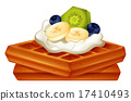 Waffle with cream and fruits 17410493