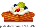 Waffle with cream and fruits 17410497