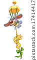 Cartoon cat and dog travel on a special parachute 17414417