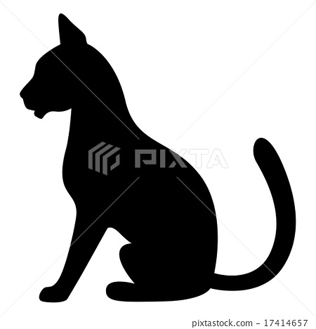 Silhouette of a black cat sitting 17414657