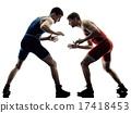 wrestlers wrestling men isolated silhouette 17418453
