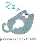 happy fat gray cat sleeping vector illustration 17423456