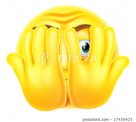 Stock Illustration: Scared emoticon emoji