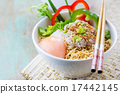 Chinese noodles with minced pork and egg in bowl 17442145