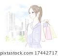거리에서 쇼핑하는 여성 17442717