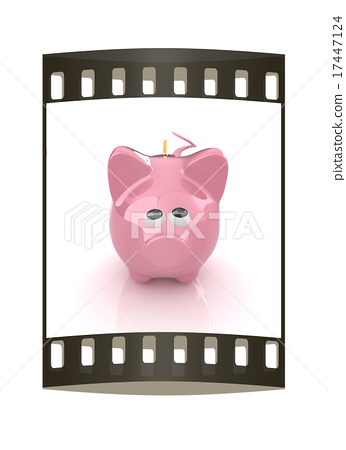 Piggy bank with gold coin on white. The film strip 17447124