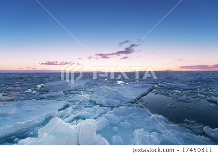 Morning glow of drift ice 17450311