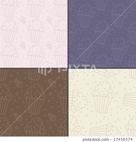 Set of Seamless Patterns with Hand Drawn Cupcakes 17456574