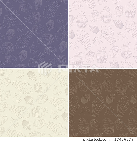 Set of Seamless Patterns with Hand Drawn Cupcakes 17456575