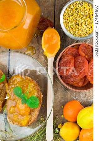 Natural organic dried apricots, apricot jam 17464607