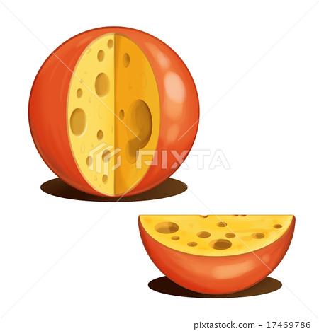 Cartoon Tasty cheese. 17469786