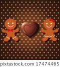 loving couple of gingerbread and heart chocolate 17474465