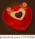loving couple of gingerbread cookies in coffee cup 17475686