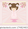 Kokeshi doll on the pink background  17482463