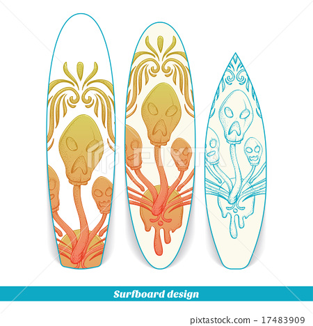 Surfboard Design Abstract Mushroom Three 17483909