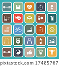 Fitness flat icons on green background 17485767