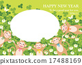 monkey, clover, new year's card 17488169
