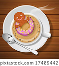 ginger bread with doughnut in cup of hot coffee 17489442