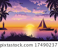 Tropical Sea Landscape with Palm and Ship 17490237