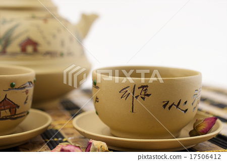 Chinese traditional clay cups of tea 17506412