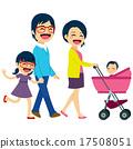 Asian Couple Pushing Stroller 17508051