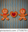 loving couple of gingerbread and heart cookie 17508701