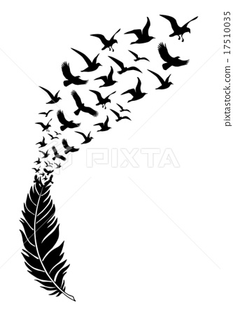 feathers with free flying birds, vector  17510035